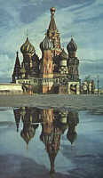 St. Basil Cathedral reflects in water